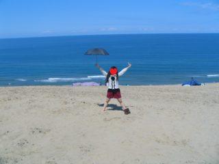 鳥取砂丘 縦断 妻 喜び